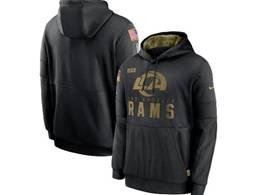 Mens Women Youth Nfl Los Angeles Rams Black 2020 Salute Pocket Pullover Hoodie Nike Jersey