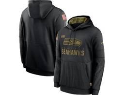 Mens Women Youth Nfl Seattle Seahawks  Black 2020 Salute Pocket Pullover Hoodie Nike Jersey