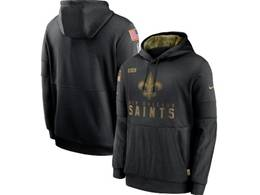 Mens Women Youth Nfl New Orleans Saints Black 2020 Salute Pocket Pullover Hoodie Nike Jersey