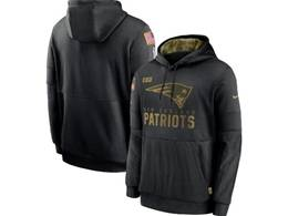 Mens Women Youth Nfl New England Patriots Black 2020 Salute Pocket Pullover Hoodie Nike Jersey