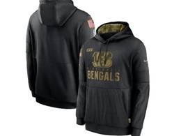 Mens Women Youth Nfl Cincinnati Bengals Black 2020 Salute Pocket Pullover Hoodie Nike Jersey