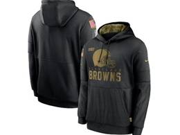 Mens Women Youth Nfl Cleveland Browns Black 2020 Salute Pocket Pullover Hoodie Nike Jersey