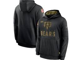 Mens Women Youth Nfl Chicago Bears Black 2020 Salute Pocket Pullover Hoodie Nike Jersey