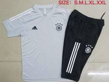 Mens 20-21 Soccer Germany Ntaional Team Gray Short Sleeve And Black Cropped Trousers Training Suit