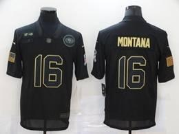 Mens Nfl San Francisco 49ers #16 Joe Montana Black Nike 2020 Salute To Service Limited Jersey