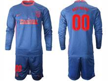 Mens 20-21 Soccer Atletico De Madrid Club ( Custom Made ) Blue Away Long Sleeve Suit Jersey