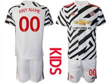 Kids 20-21 Soccer Manchester United Club ( Custom Made ) White Second Away Short Sleeve Suit Jersey