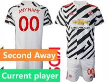 Baby 20-21 Soccer Manchester United Club Current Player White Second Away Short Sleeve Suit Jersey