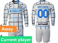 Mens 20-21 Soccer Inter Milan Club Current Player White Away Long Sleeve Suit Jersey