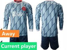 Mens 20-21 Soccer Afc Ajax Club Current Player Gray Blue Away Long Sleeve Suit Jersey