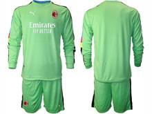 Mens 20-21 Soccer Ac Milan Club ( Custom Made ) Green Goalkeeper Long Sleeve Suit Jersey