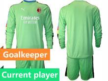 Mens 20-21 Soccer Ac Milan Club Current Player Green Goalkeeper Long Sleeve Suit Jersey