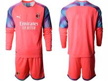 Mens 20-21 Soccer Ac Milan Club ( Custom Made ) Red Goalkeeper Long Sleeve Suit Jersey