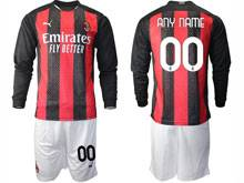 Mens 20-21 Soccer Ac Milan Club ( Custom Made ) Red Black Stripe Home Long Sleeve Suit Jersey