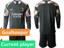 Mens 20-21 Soccer Ac Milan Club Current Player Black Goalkeeper Long Sleeve Suit Jersey