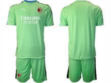 Mens 20-21 Soccer Ac Milan Club ( Custom Made ) Green Goalkeeper Short Sleeve Suit Jersey