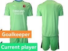 Mens 20-21 Soccer Ac Milan Club Current Player Green Goalkeeper Short Sleeve Suit Jersey