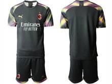 Mens 20-21 Soccer Ac Milan Club ( Custom Made ) Black Goalkeeper Short Sleeve Suit Jersey