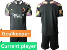 Mens 20-21 Soccer Ac Milan Club Current Player Black Goalkeeper Short Sleeve Suit Jersey