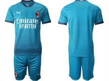 Mens 20-21 Soccer Ac Milan Club ( Custom Made ) Blue Second Away Short Sleeve Suit Jersey
