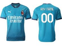 Mens 20-21 Soccer Ac Milan Club ( Custom Made ) Blue Second Away Thailand Short Sleeve Jersey