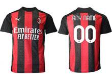 Mens 20-21 Soccer Ac Milan Club ( Custom Made ) Red Black Stripe Home Thailand Short Sleeve Jersey