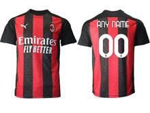 Mens 20-21 Soccer Ac Milan Club ( Custom Made ) Red Black Stripe Home Thailand Short Sleeve Jersey