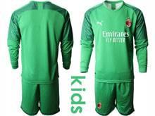 Baby 20-21 Soccer Ac Milan Club ( Custom Made ) Green Goalkeeper Long Sleeve Suit Jersey
