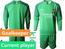Kids 20-21 Soccer Ac Milan Club Current Player Green Goalkeeper Long Sleeve Suit Jersey