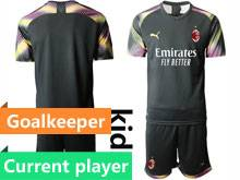 Baby 20-21 Soccer Ac Milan Club Current Player Black Goalkeeper Short Sleeve Suit Jersey