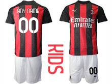 Mens 20-21 Soccer Ac Milan Club ( Custom Made ) Red Black Stripe Home Short Sleeve Suit Jersey
