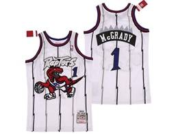 Mens Nba Toronto Raptors #1 Tracy Mcgrady White Red Logo Mitchell&ness Hardwood Classics Jersey