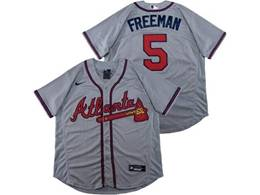 Mens Mlb Atlanta Braves #5 Freddie Freeman Gray Flex Base Nike Jersey