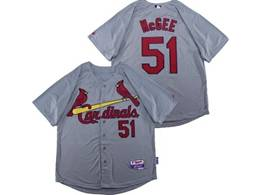 Mens Majestic St.louis Cardinals #51 Willie Mcgee Gray Cool Base Jersey