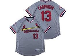 Mens Majestic St.louis Cardinals #13 Matt Carpenter Gray V Neck Pullover Flex Base Jersey