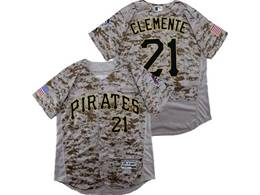Mens Majestic Pittsburgh Pirates #21 Roberto Clemente Camo Painting Flex Base Jersey