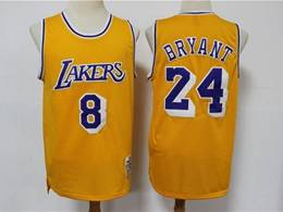 Mens Nba Los Angeles Lakers #8&24 Kobe Bryant Yellow 2020 Mitchell&ness Hardwood Classics Jersey