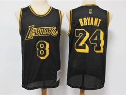 Mens Nba Los Angeles Lakers #8&24 Kobe Bryant Black 2020 Mitchell&ness Hardwood Classics Jersey