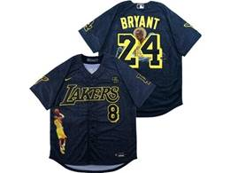 Mens Mlb Los Angeles Lakers #8&24 Bryant Black Black Number Cool Base Kb Nike Jersey