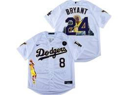 Mens Mlb Los Angeles Dodgers #8&24 Bryant White Purple Number Cool Base Kb Nike Jersey