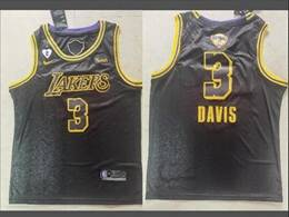 Mens Nba Los Angeles Lakers #3 Anthony Davis Black Snake Skin 2020 Finals Swingman Jersey