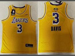 Mens Nba Los Angeles Lakers #3 Anthony Davis Yellow 2020 Finals Swingman Jersey
