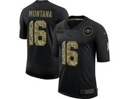 Mens Nfl San Francisco 49ers #16 Joe Montana Black Camo Number Nike 2020 Salute To Service Limited Jersey