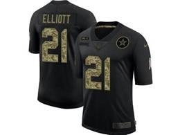 Mens Nfl Dallas Cowboys #21 Ezekiel Elliott Black Camo Number Nike 2020 Salute To Service Limited Jersey