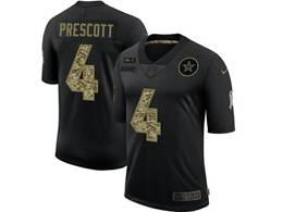 Mens Nfl Dallas Cowboys #4 Dak Prescott Black Camo Number Nike 2020 Salute To Service Limited Jersey