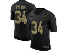 Mens Nfl Chicago Bears #34 Walter Payton Black Camo Number Nike 2020 Salute To Service Limited Jersey