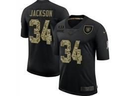 Mens Nfl Las Vegas Raiders #34 Bo Jackson Black Camo Number Nike 2020 Salute To Service Limited Jersey