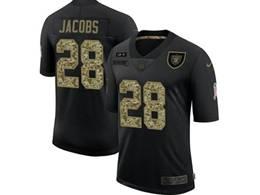 Mens Nfl Las Vegas Raiders #28 Josh Jacobs Black Camo Number Nike 2020 Salute To Service Limited Jersey