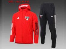 Mens 20-21 Soccer Sao Paulo Red Wind Coat And Black Sweat Pants Training Suit ( Hoodie )
