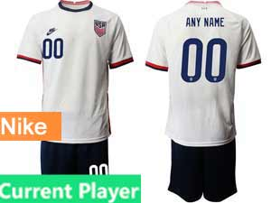 Mens 20-21 Soccer Usa National Team Current Player Nike White Home Short Sleeve Suit Jersey